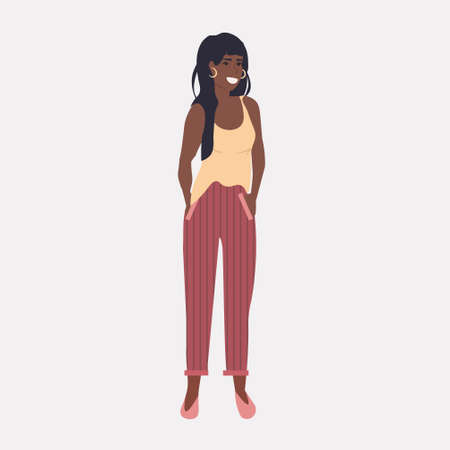 african american girl standing with hands in pocket woman looking at camera full length vector illustration Banque d'images - 138469223