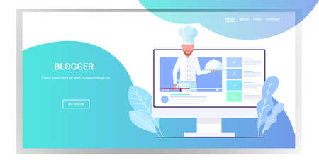 blogger chef in uniform holding dish food blog cooking blogging concept man explaining how to cook a dish portrait monitor screen online player horizontal vector illustration