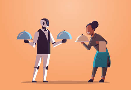 robotic waiter with waitress holding tray with dish robot vs human restaurant workers in uniform artificial intelligence technology food serving concept flat full length horizontal vector illustration