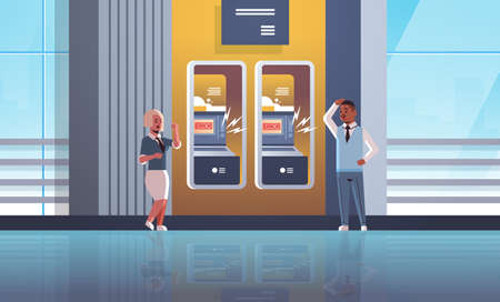 sad man woman customers near ATM machine with no money error notification financial crisis transaction denied locked bank credit card bad servise at bank concept horizontal full length vector illustration Çizim