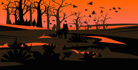 wolves silhouettes escaping from forest fires in australia wildfire birds flying over bushfire burning trees natural disaster concept intense orange flames horizontal vector illustration
