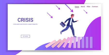 businessman running on falling dominos solving problem domino effect crisis management chain reaction finance intervention concept horizontal full length copy space vector illustration