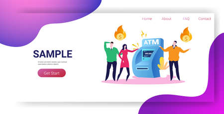 sad businesspeople near ATM machine with flaming dollar symbol financial crisis transaction denied locked bank credit card bankruptcy concept horizontal full length copy space vector illustration