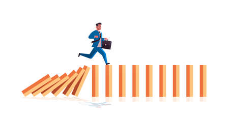 businessman running on falling dominos problem solving domino effect crisis management chain reaction finance intervention concept horizontal full length vector illustration Çizim