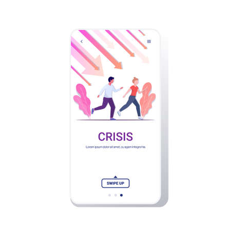 businesspeople running away from downward chart falling down arrows financial crisis bankruptcy investment risk concept full length copy space smartphone screen mobile app vector illustration Çizim