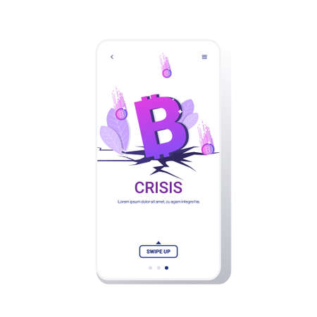 fallen in price bitcoin collapse of crypto currency falling down coins financial crisis bankrupt investment risk concept smartphone screen online mobile app copy space vector illustration Çizim