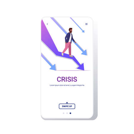 stressful businessman standing at falling down economic arrow downward chart graph financial crisis bankrupt investment failure risk concept full length smartphone screen mobile app vector illustration