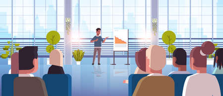 businessman presenting falling down arrow for businesspeople at conference meeting decrease economical financial crisis failure concept full length horizontal vector illustration