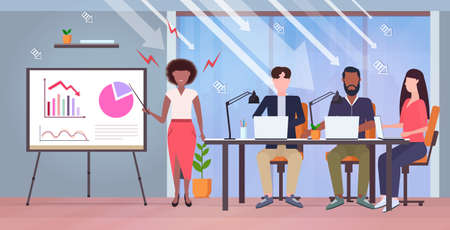 angry businesswoman presenting economic arrow falling down on flipchart for mix race businesspeople team financial crisis bankruptcy concept modern office interior full length horizontal vector illustration