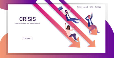mix race businesspeople sliding down falling economic arrow financial crisis bankrupt investment risk business failure concept full length horizontal copy space vector illustration