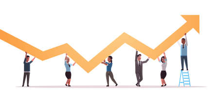 businesspeople holding upward financial arrow up teamwork successful business development growth concept mix race employees correcting direction of graphic horizontal full length vector illustration Ilustrace