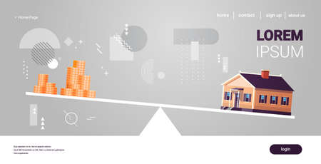 house and money cons balancing on scales real estate investing rental expense liabilities and mortgage concept horizontal copy space vector illustration 일러스트