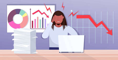 overworked businessman using laptop analyzing downward graph chart economic arrow falling down financial crisis bankruptcy paperwork concept portrait horizontal vector illustration Çizim