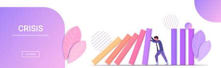Destacó empresario detener efecto dominó gestión de crisis reacción en cadena intervención financiera prevención de conflictos concepto horizontal de longitud completa copia espacio ilustración vectorial