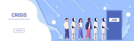 robot vs human businesspeople candidates standing in line queue to door office hiring job employment business automation artificial intelligence concept horizontal full length copy space vector illustration