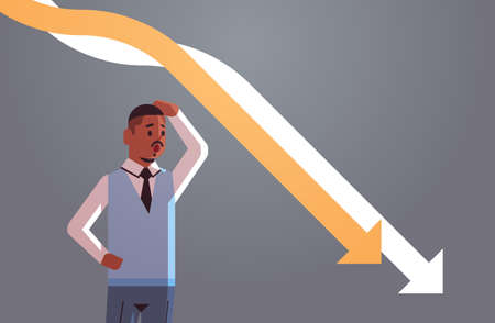 stressful businessman looking at falling down economic arrows chart graph financial crisis bankrupt investment failure risk concept portrait horizontal vector illustration