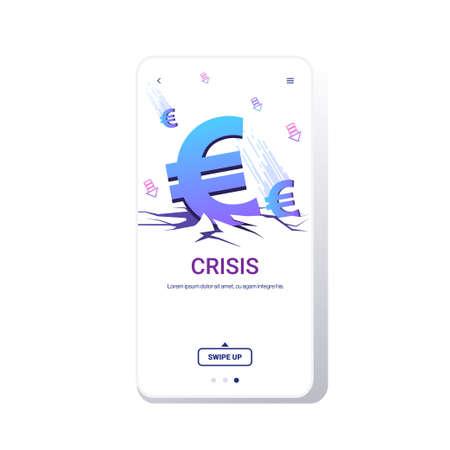 falling down euro symbol financial crisis bankrupt investment risk currency decline budget collapse concept smartphone screen online mobile app copy space vector illustration Illustration