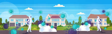scientists in hazmat suits cleaning disinfecting coronavirus cells epidemic MERS-CoV virus 2019-nCoV pandemic health risk countryside landscape background horizontal vector illustration