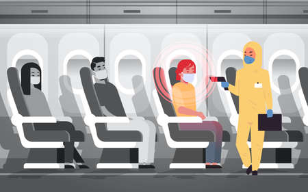doctor in hazmat suit checking airplane passengers for epidemic MERS-CoV virus symptoms coronavirus 2019-nCoV pandemic medical health risk concept plane interior horizontal vector illustration Ilustração Vetorial