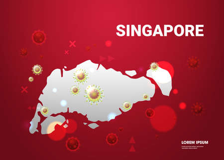 Map of Singapore with virus cells