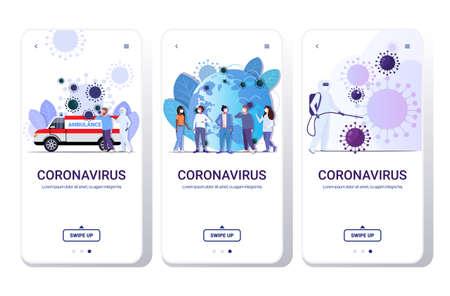 set coronavirus cells epidemic MERS-CoV virus floating influenza flu spreading of world concepts collection 2019-nCoV health risk full length smartphone screens mobile app vector illustration