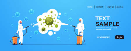 medical scientists in hazmat suits cleaning and disinfecting coronavirus cells epidemic MERS-CoV virus concept 2019-nCoV pandemic health risk full length horizontal copy space vector illustration