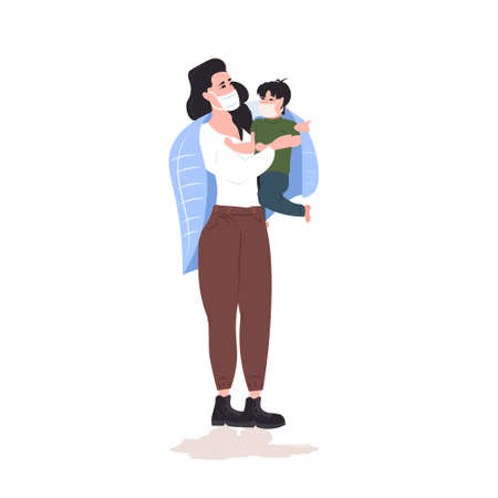 woman with child wearing masks to prevent epidemic MERS-CoV coronavirus 2019-nCoV pandemic medical health risk full length vector illustration Vectores