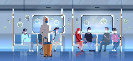 specialist in hazmat suit cleaning and disinfecting virus cells in public transport with passengers Vektorgrafik