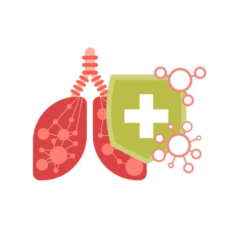 human lungs with protective shield virus protection concept