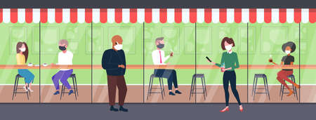 mix race people wearing masks to prevent epidemic MERS-CoV 2019-nCoV pandemic health risk concept cafe interior full length horizontal vector illustration