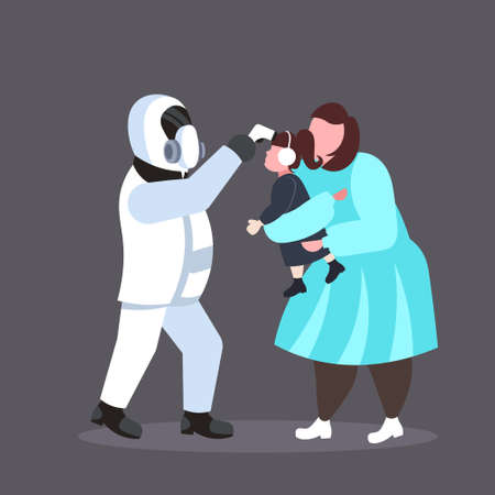 man in hazmat suit checking temperature of daughter with mother spreading coronavirus infection epidemic MERS-CoV virus 2019-nCoV pandemic health risk concept full length vector illustration