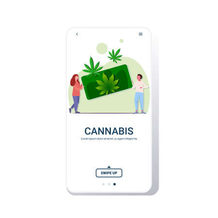 man woman holding smartphone with cannabis leaves people ordering marijuana drug consumption online hemp plant order concept mobile app full length copy space vector illustration Illustration