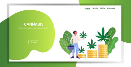 businessman holding cannabis leaf hemp plants growing on stacks of money coins marijuana business drug consumption concept full length copy space horizontal vector illustration Illustration