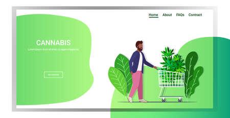 man pushing shopping cart with cannabis marijuana leaves hemp plant ordering drug consumption concept copy space full length horizontal vector illustration