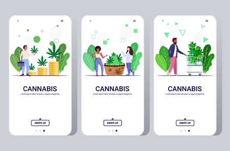 set people eating cannabis cookie buying medical marijuana hemp plants growing business drug consumption concept mobile app smartphone screens collection full length horizontal copy space vector illustration
