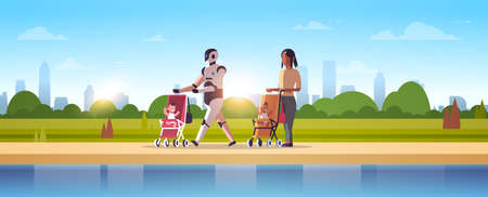 robotic babysitter and mother walking with baby in stroller robot vs human standing together artificial intelligence technology concept urban park landscape background full length horizontal vector illustration Ilustracja