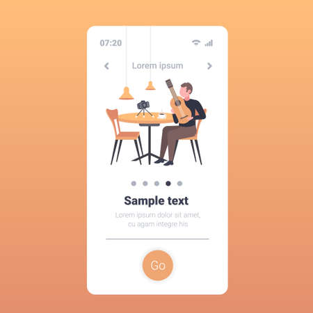 music blogger playing guitar live streaming musical blog concept man sitting at cafe table recording video using camera on tripod smartphone screen mobile app full length vector illustration Ilustrace