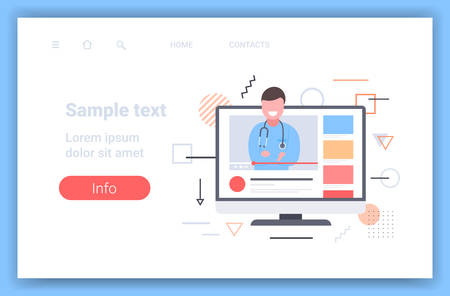 doctor blogger giving information about medicine online medical consultation assistance by internet healthcare concept monitor screen video player horizontal copy space vector illustration