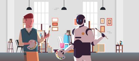 robot and human painters holding paintbrush and palette robotic character vs man standing together in modern art studio artificial intelligence technology concept flat portrait horizontal vector illustration Иллюстрация