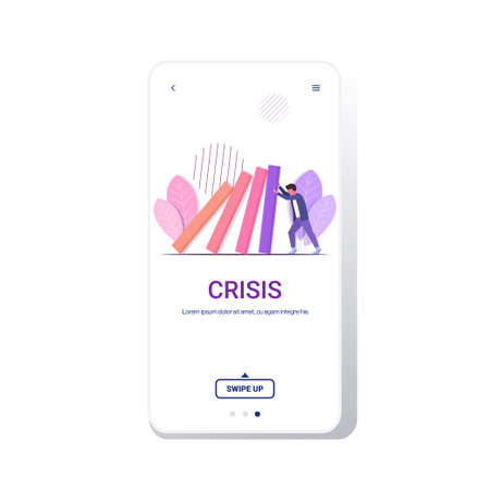 stressed businessman stopping domino effect crisis management chain reaction finance intervention conflict prevention concept smartphone screen mobile app full length copy space vector illustration
