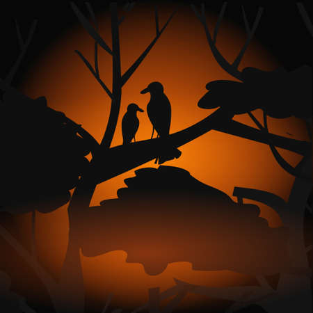 birds silhouettes sitting on branch escaping from fires in australia animals dying in wildfire bushfire natural disaster concept intense orange flames vector illustration Ilustração