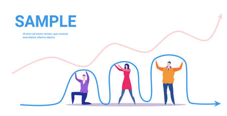 businesspeople team holding economic arrow falling down financial crisis bankrupt investment risk concept business people with graph indicating regression full length horizontal vector illustration Vektoros illusztráció
