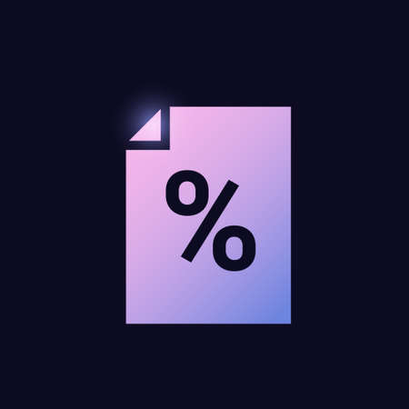 file with percentage mark tax document sign glowing neon icon banking icons for ui and ux website or mobile app vector illustration