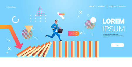 businessman running on falling dominos problem solving domino effect crisis management chain reaction finance intervention concept horizontal full length copy space vector illustration