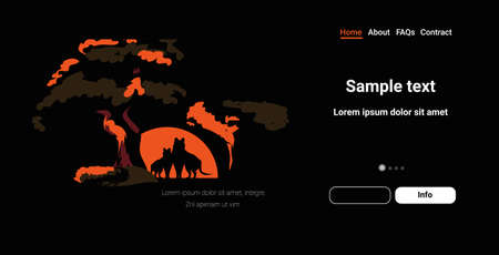 wolves silhouettes near tree animals dying in bushfire forest fires in australia wildfire natural disaster concept intense orange flames horizontal copy space vector illustration