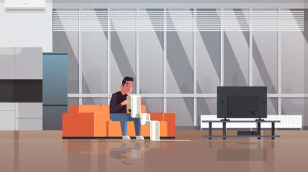 stressed man with long tax document debtor shocked by payment bills financial crisis bankruptcy concept guy sitting on sofa worried about paying a lot of money living room interior horizontal vector illustration