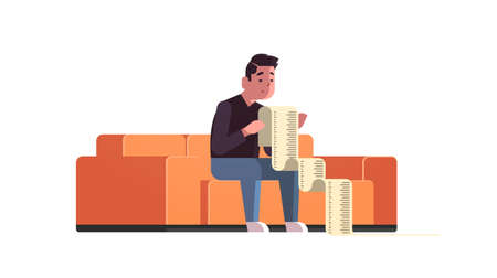 stressed businessman with long tax document debtor shocked by payment bills financial crisis bankruptcy concept bankrupt sitting on sofa worried about paying a lot of money horizontal vector illustration 矢量图像