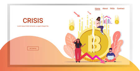 mix race businesspeople frustrated about fallen in price bitcoin collapse of crypto currency falling down arrow financial crisis bankrupt investment risk concept full length horizontal copy space vector illustration