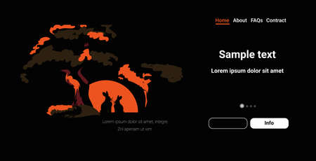 rabbit silhouettes near tree animals dying in bushfire forest fires in australia wildfire natural disaster concept intense orange flames horizontal copy space vector illustration Illustration