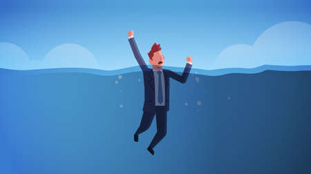 drowning businessman raising his hands out of water insolvency failure crisis bankruptcy concept sinking business man in sea needs urgent help horizontal full length vector illustration